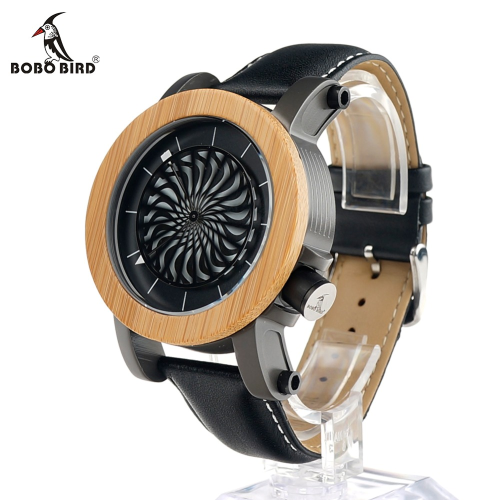 BOBO BIRD M06 Mechanical Wooden Watch Men Real Leather Strap Vintage Luxury Watch Flywheel Dial Face Erkek Saat for Men 2017 pure face design wooden watch for