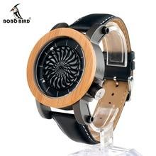 BOBO de AVES M06 Volante Reloj Mecánico Reloj de Los Hombres Correa de Cuero de Lujo de La Vendimia De Madera Cara Del Dial Erkek Cuarzo Reloj para Los Hombres