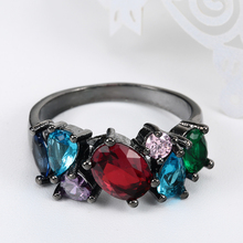 New Black Color Ring Vintage Gift For Women Colorful Zircon Cz Zircon Wedding Engagement Rings Jewelry Silver Color Rings Gift rainbow fire mystic crystal zircon ring white black innocuous ceramic rings plus cz for women wedding ring engagement jewelry
