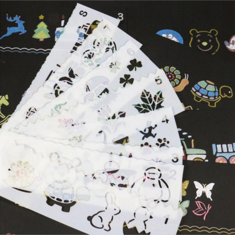 8 Pcs set Cartoon animals Art Korea Stationery Painting Supplie Graphics Symbols Template Ruler Student Kid Drafting Stencil DIY