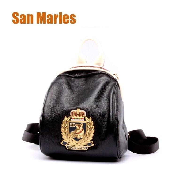 Сумки San maries с Минни Маус для девочек на ремне сумки женский рюкзак коровья кожа Мода женские рюкзаки маленький с переплетенными ремешками; популярная Красивая Цвет черный Для женщин рюкзак