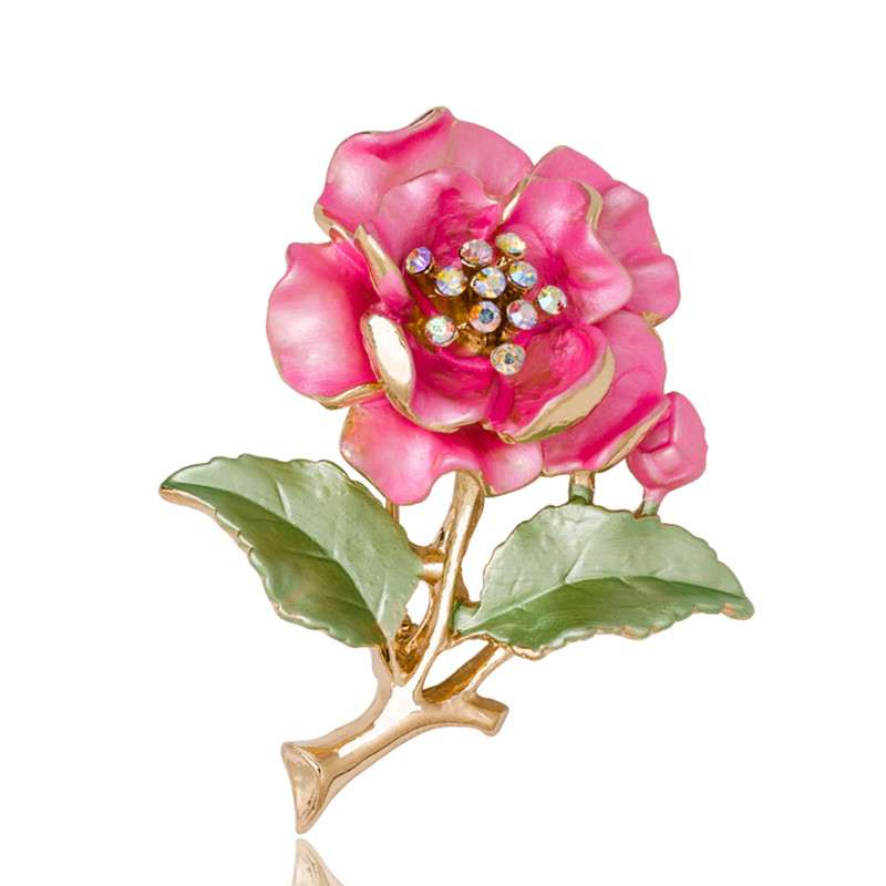 Cute Ladies Broches Wedding Dress Plant Jewelry Rhinestone di cristallo Fiore Spilla per donna Broshce Metal Leaf Broches Mujer pins