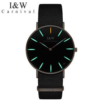 Carnival Tritium Watch Men Nylon Strap Mens Watches Top Brand Luxury Quatz Wristwatch Waterproof Man Clock relogio masculino