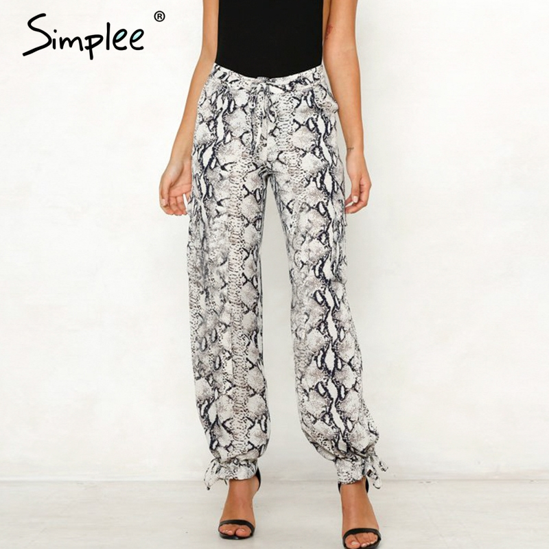 Simplee Sexy animal print pants High waist sashes satin long women wide leg pants capris Summer spring fashion female trousers