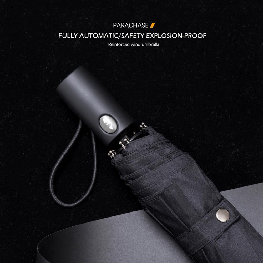 Parachase Black Automatic Umbrella Men Windproof 8K 112cm Big Rain Safe Auto Guarda Chuva Folding Golf Clear