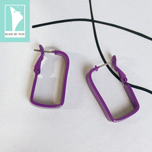 Fashion square enamel hoop earring for women purple geometric hoop earrings 2019 kupe kolczyki oorbellen brincos все цены