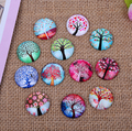 24X   12mm The tree of life pattern Round  Handmade Photo Glass Cabochons & Glass Dome Cover Pendant Cameo Settings