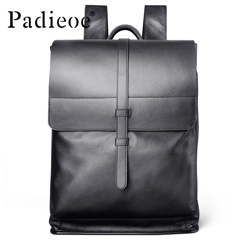 Padieoe Luxury Fashion Genuine Leather Men Backpacks Designer Brand Male Business Backpack Laptop Bag padieoe 2017 genuine leather new fashion men luxury male bag high quality waterproof laptop messenger travel backpack school bag