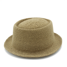 Sun-Hat Fedora Hats Raffia Panama-Cap Pork Pie Letter Boater Women Summer Flat for Gentleman