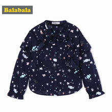 Купить с кэшбэком Balabala 2018 Fashion Blouses For Girls Clothing Cotton butterfly neck Girls Shirts Brand printed Clothes 2-6 Years Kids Tops