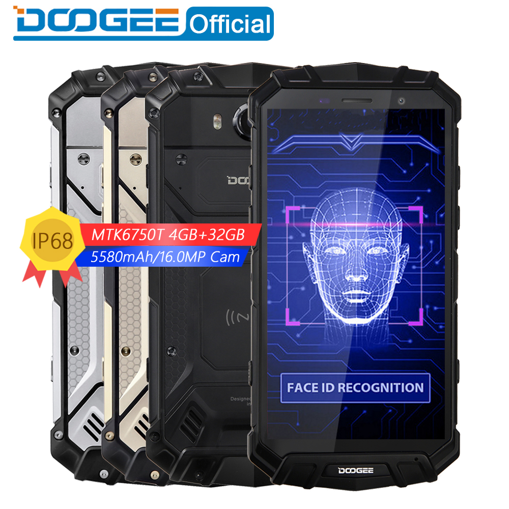 "New IP68 Water DOOGEE S60 Lite Wireless Charge 5580mAh 12V2A Quick Charge 5.2"" FHD MT6750T Octa Core 4GB 32GB Smartphone 16.0MP"