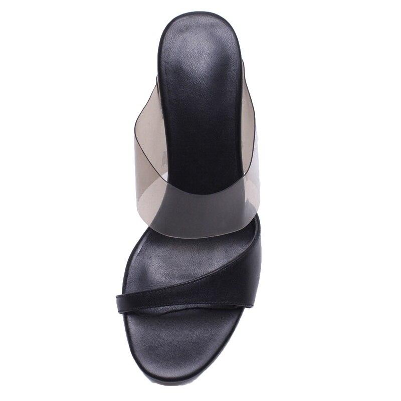 Party Black Büro Frauen Heels Sommer Schuhe Dame Leder Aus Strand white Sandale Damen Echtem High Vankaring 2019 Pantoffel Mode gvTnzp