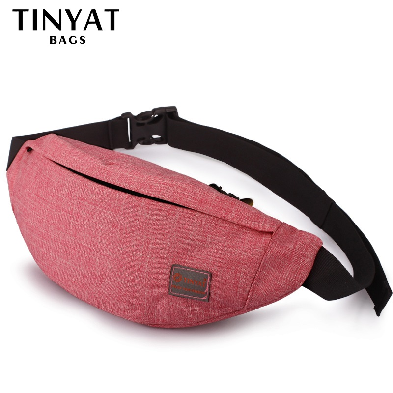 TINYAT Casual Men Fanny Bag Kvinnor Axelväska Pack Väska Påse Travel Hip Bum Bag Canvas Beltväska passar 6.22 tums telefon T201 Red