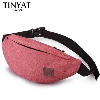 Tinyat 캐주얼 남성 패니 가방 여성 숄더 허리 팩 가방 파우치 여행 엉덩이 부랑자 캔버스 벨트 가방 맞는 6.22 인치 전화 t201 레드