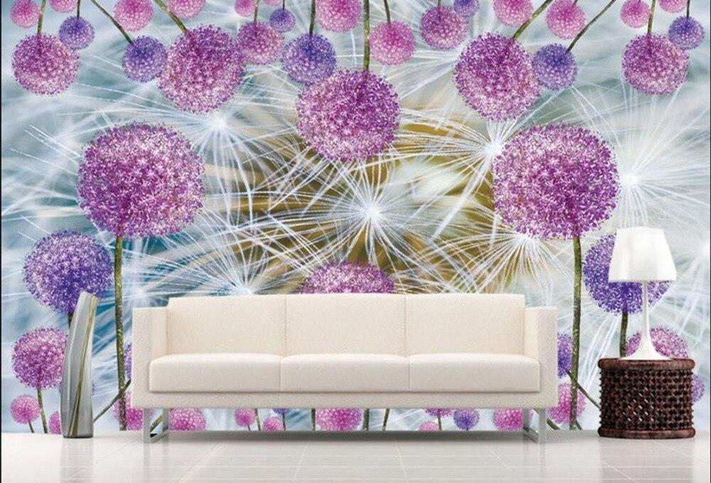 Custom 3d wallpapers for wall luxury Romantic Dandelion TV Backdrop 3d wallpaper living room wallpaper for bedroom walls