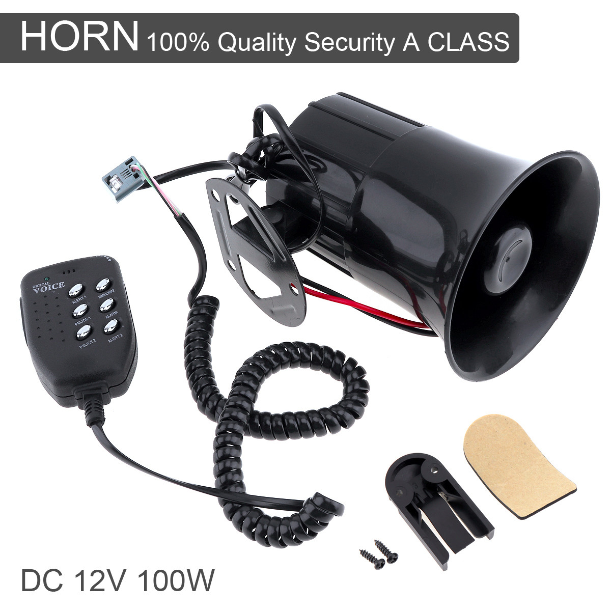 100W 12V 6 Sound Car Speaker Loud Alarm Siren Horn 105-115db with MIC Microphone for Auto Truck