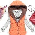 Осень Зимнее Пальто Женщин 2016 Новая Мода Вниз Пальто Дамы Жилет Дизайн Кнопки Случайные Хлопка Топы С Капюшоном Парки для Женщин
