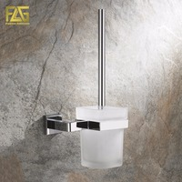 FLG Wall Mounted Square Toilet Brush Holder Brass Bathroom Hardware Ceramic Cups Chrome Polished Bathroom Accessories