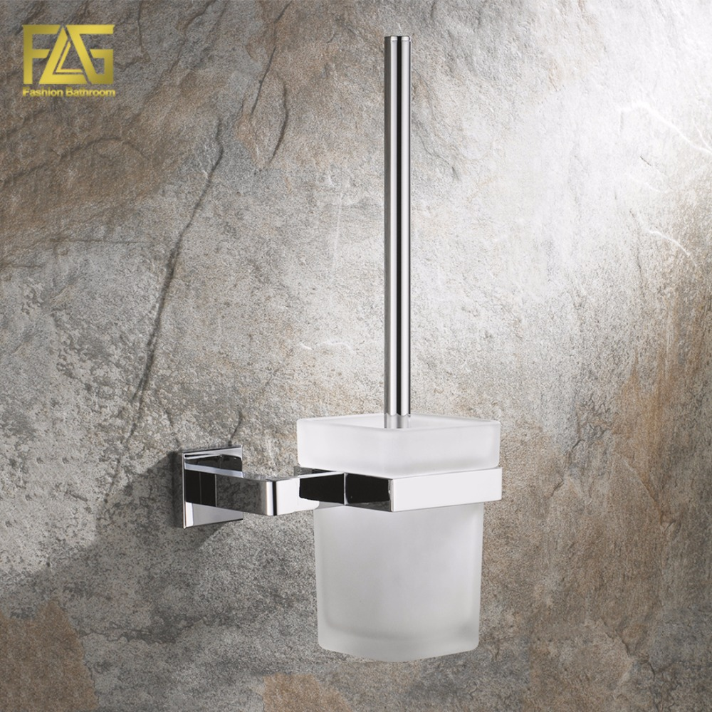 FLG Wall Mounted Square Toilet Brush Holder Brass Bathroom Hardware Ceramic Cups Chrome Polished Bathroom Accessories Set 85203 free postage oil rubbed bronze tooth brush holder double ceramic cups holder