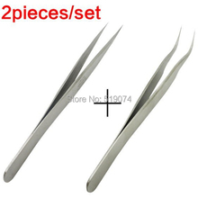 2pcs Switzerland Standard Professional Stainless Steel Angle Curved Straight Tweezers Eyelashes Extension Free Shipping