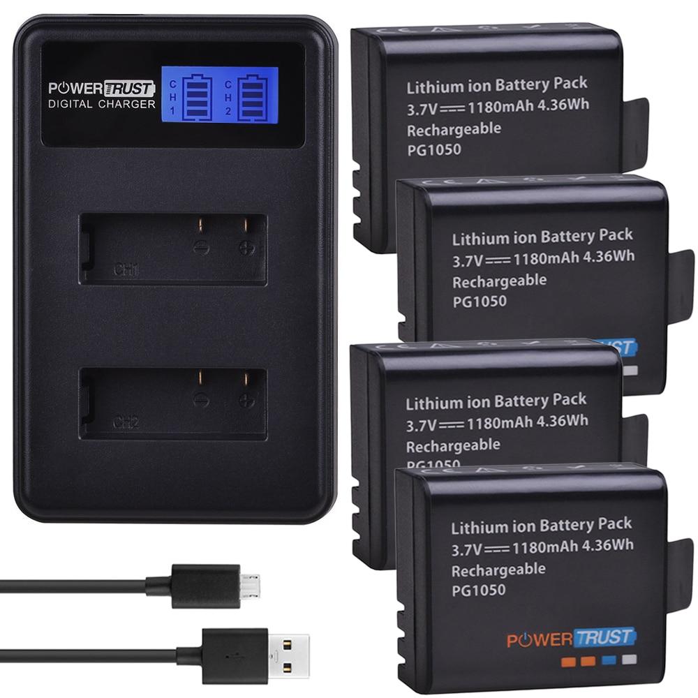 4x PG1050 1180 mah Batterie + LCD Dual USB Caricabatteria Per SJCAM SJ4000 M10 SJ5000 SJ5000X Per EKEN H9 h9R H8R H8 GIT PG900