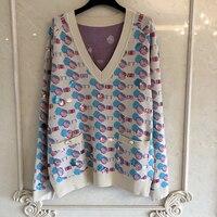 Женская мода свитер и пуловеры v образный вырез Леди с длинным рукавом свитер с пайетками 2019 Модный женский новый свитер