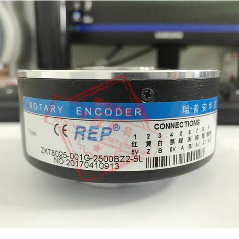 REP Оптический энкодер ZKT8025-001G-2500BZ2-5L 2500 импульсов 5 В DC Скорость дифференциальный выход датчика 25 мм полый вал