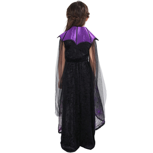 Image 5 - Eraspooky 2018 Purple Spider Vampire Cosplay Girls Halloween costume for kids Lace Cape Long Dress Carnival Party Queen Collar