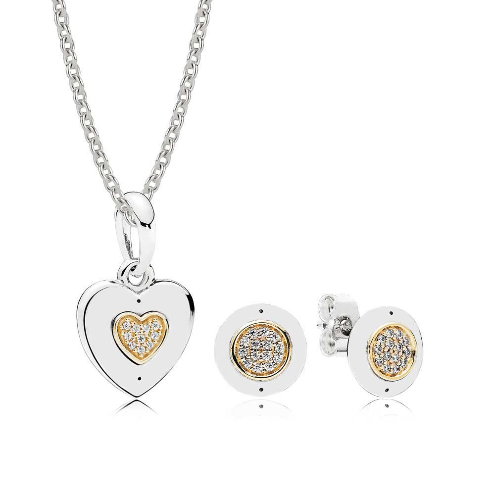 100% 925 Sterling Silver 14K Gold Color Signature Necklace And Earring Set Fit Charm Necklace Jewelry A set of prices