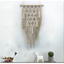 Macrame Wall Art Hand-made Dyed Cotton Wall Hanging Tapestry Lace Bohemia Tassel Boho Home Decor Living Room Wall Decoration macrame wall hanging mirrors ins nordic wall mirrors hand made wall tapestry home porch mirrors for home makeup bath room