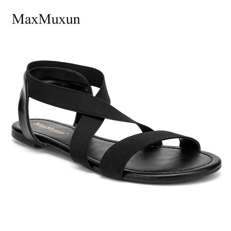 MaxMuxun Shoes Women Elastic Band Flat Sandals Summer Cross Tied Open Toe Flip Flops Ankle Strappy Casual Rome Style Sandal strappy toe post flat sandals