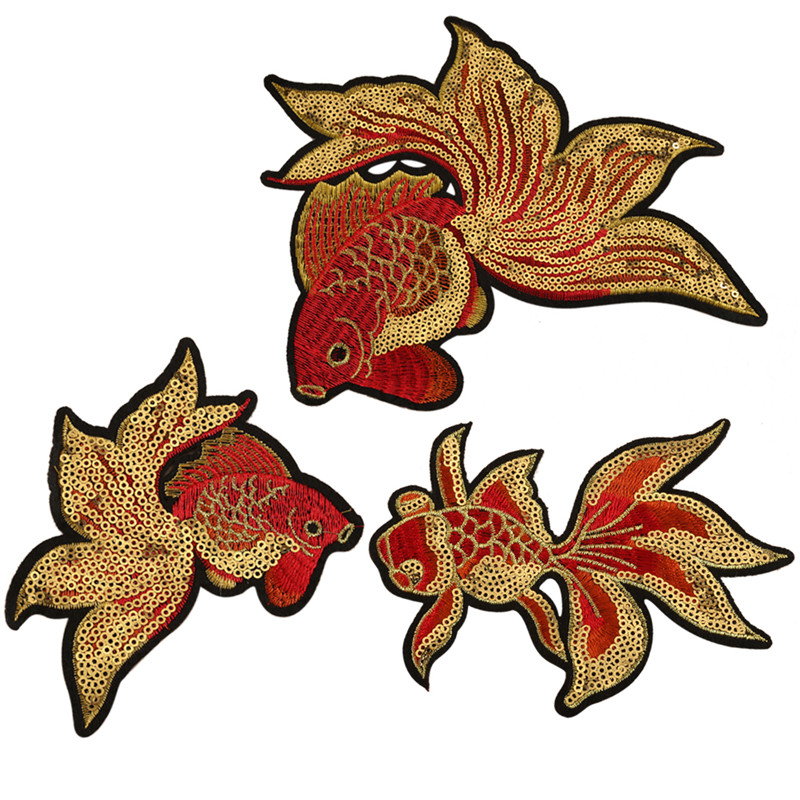 1PC~SHOPPING FISH~IRON ON EMBROIDERED APPLIQUE PATCH