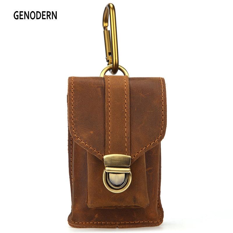 GENODERN Men Vintage 100% Genuine Leather Cigarette Pouch Waist Packs Male Crazy Horse Leather Mini Waist Bag genodern 100