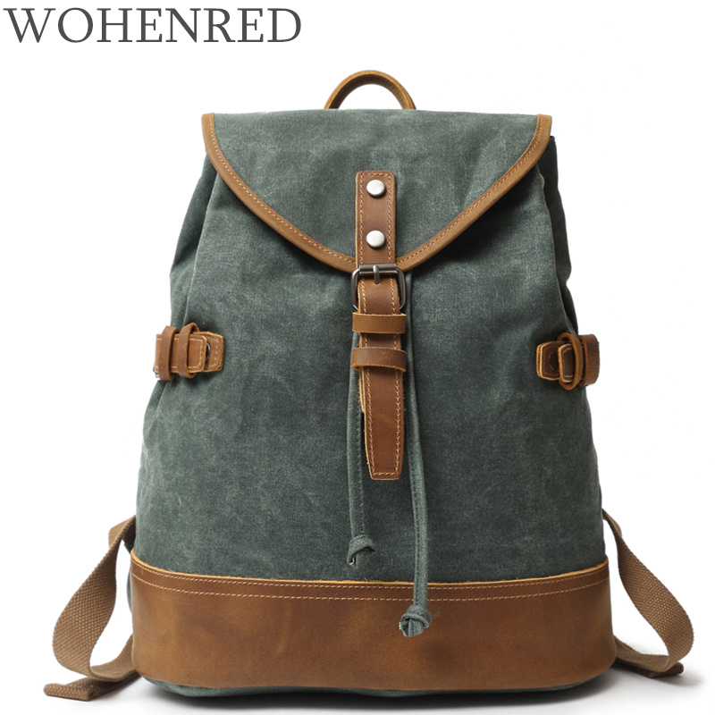 Women/Men Backpack Vintage Canvas Leather Backpacks For Teenagers Waterproof Laptop School Bags Casual Travel Rucksack Bagpacks zuoxiangru vintage canvas women men backpack army style notebook men rucksack military 15inch laptop school backpacks women