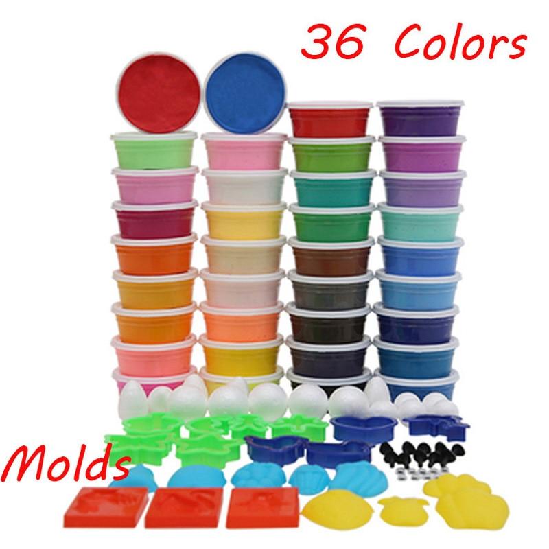 36 colores playdough luz suave color Arcilla moldeable modelo Magic aire seco plastilina con moldes libres limo