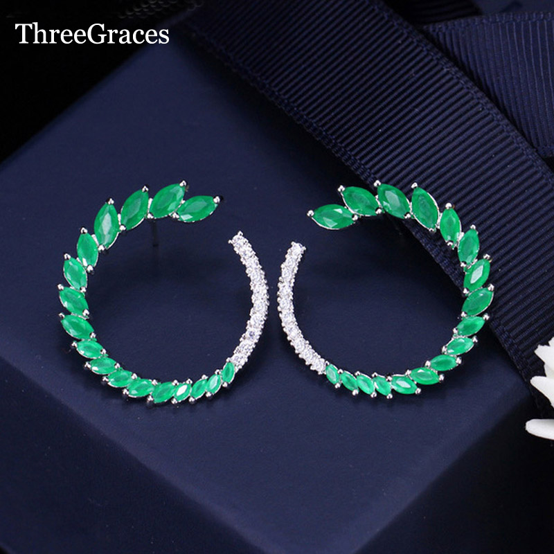 ThreeGraces American and European Women Wedding Natural Green Crystal Mix CZ Stone Open Round Big Stud Earrings for Brude ER264