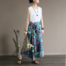 ORIGOODS Elastic waist Printed Women Skirt Vintage Bohemian style Summer Long Skirt Novelty Women Cotton and Linen Skirt A336