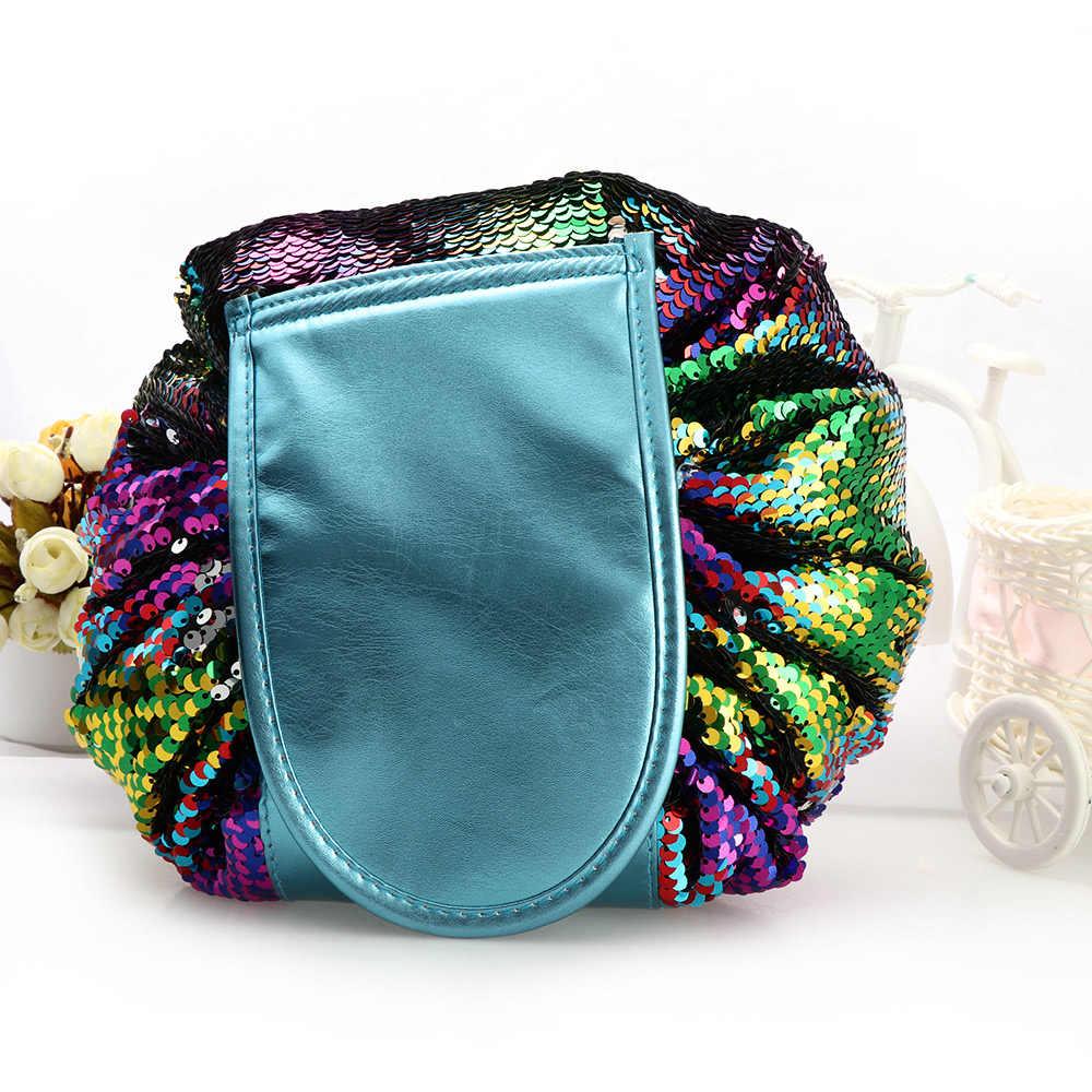 1PC Woman Bag Fashion Mermaid Sequin Travel Makeup Cosmetic Bag Case Wash  Organizer Storage Pouch Drawstring b7e2538fecda