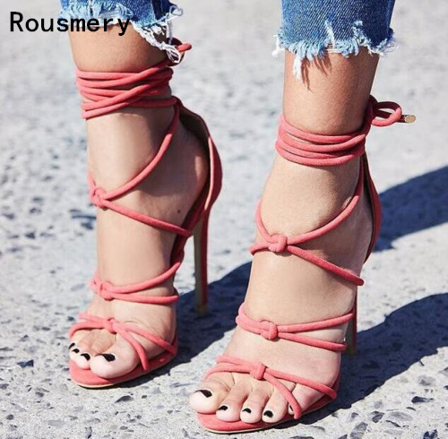 Drop Shipping 2017 Summer Sexy Women Pink or Dark Gray Open Toe Gladiator Cuts Out Cross Lace Up Thin Heels Party Dress Sandals new 2017 hot selling fashion women luxury sexy black gladiator cuts out open toe lace up back 100 mm phaedra peacock sandals