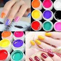 12 Tencere Şeker Renk 3D DIY Nail Art Jel Vernik Tırnak Boyama Tasarım Dekorasyon Sır UV Jel Ayna Builder Araçları