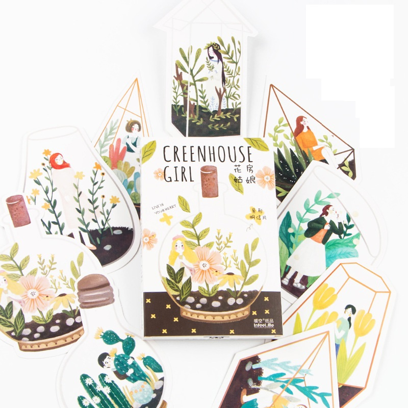 30 Sheets/SET Girl Live In Greenhouse Painting Style Memoryr Postcard /Greeting Card/Wish Card/Christmas And New Year Gifts