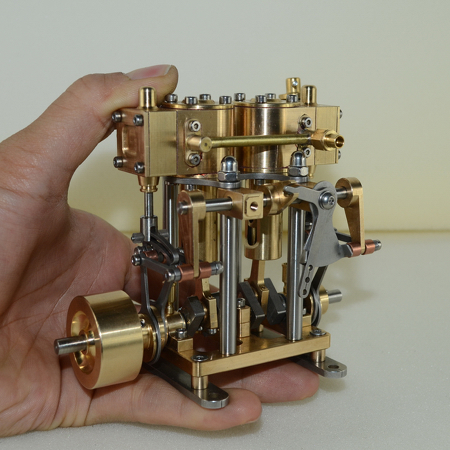 Double cylinder reciprocating steam engine model