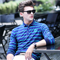 Bussiness Design Striped Formal Polo For Men 2016 Autumn New Arrivals Stitched Logo man Polos shirt Long Sleeve Hombre Pullover
