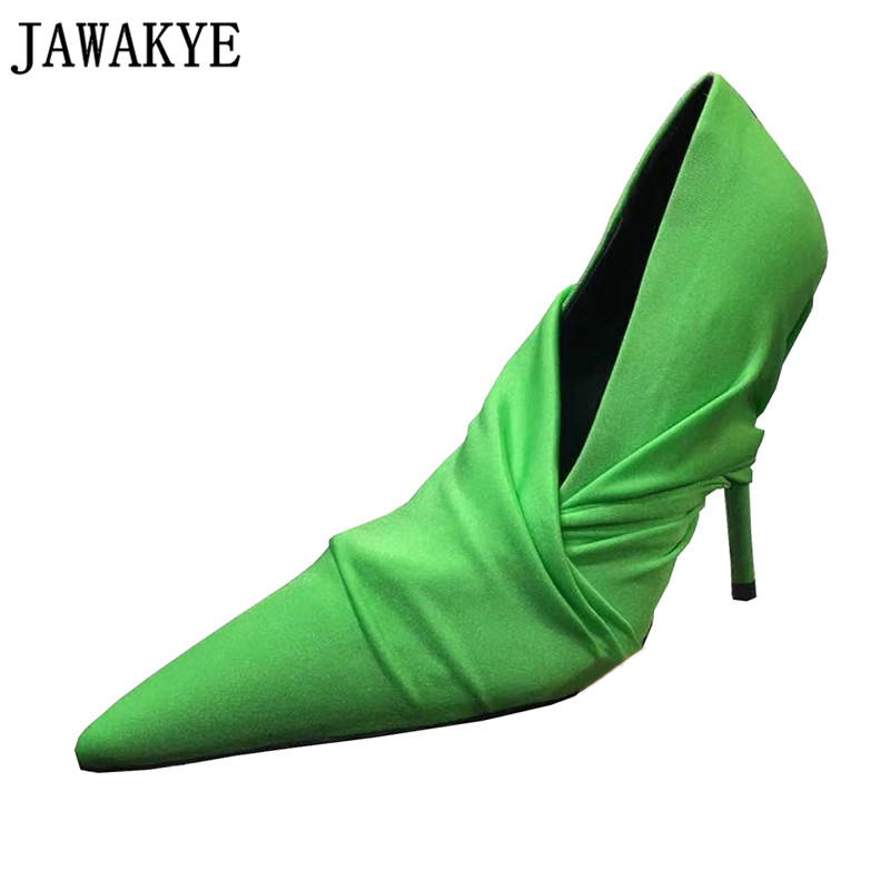 Runway Style Thin High Heels Silk Pumps Pointed Toe Slip On Crossover Multi-color Wedding Shoes Women Stilettos 2018 Spring