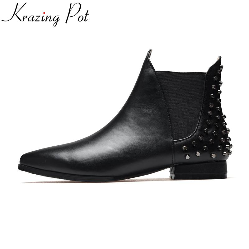 Krazing Pot 2018 genuine leather fashion winter boots pointed toe rivets thick heel slip on office lady handmade ankle boots L93 krazing pot big szie cow suede slip on thick heel tassel bowtie winter pointed toe fashion superstar runway ankle boots l5f1
