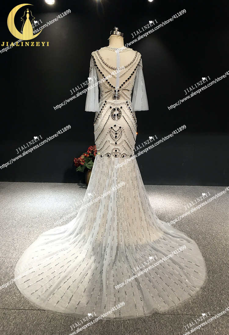 JIALINZEYI Real Sexy Luxe Kristal Hoge Kwaliteit Mermaid jurken Licht Sliver Hot Koop Avondjurken 2019 - 6