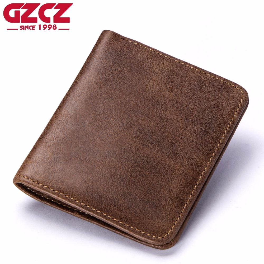 GZCZ Wallet Slim Purse-Clamp Money-Bag Money-Portomonee Male Mini Genuine-Leather High-Quality
