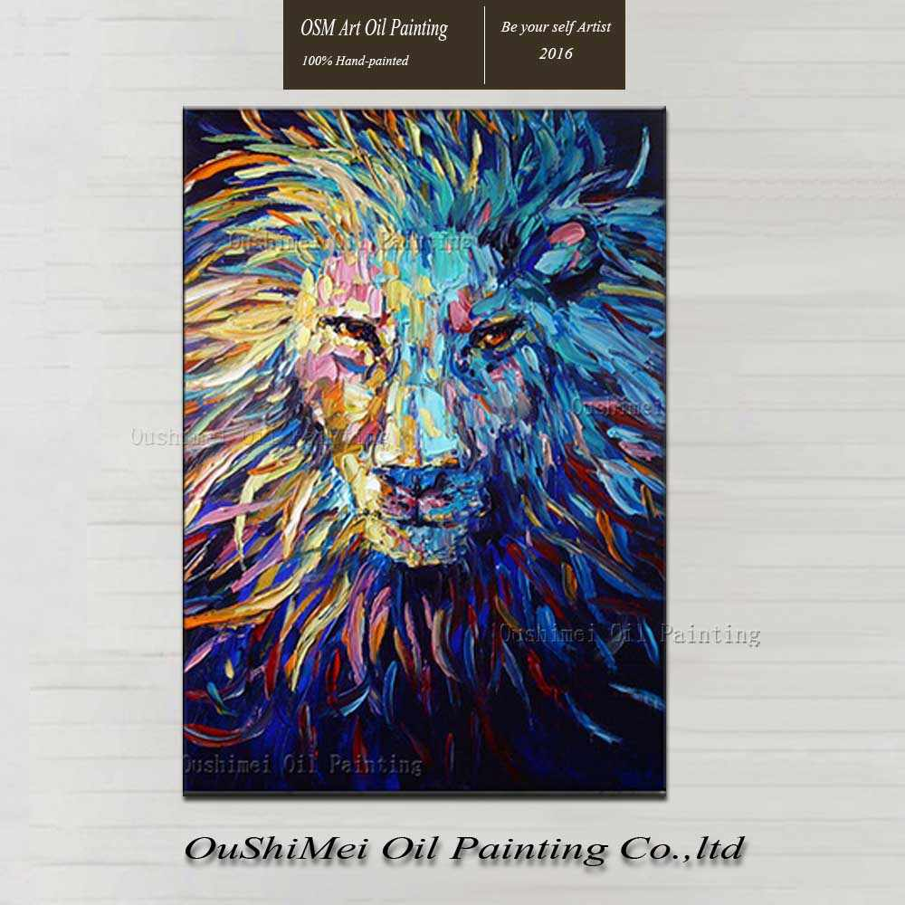 Abstract Painting Knife Lion King Of The Forest Dark Blue Oil Painting In The Canvas Nice Decoration Wise And Farsighted Eyes