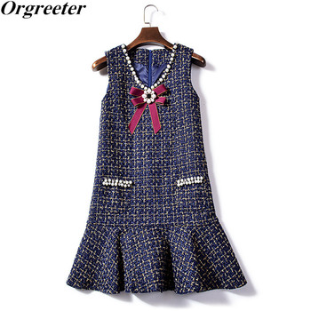 Winter Sweet Girl Pearls Bow Ribbon Tweed Dress 2018 Autumn Women Plaid V-Neck Beading Preppy Style Pocket Vest Fishtail Dress girl