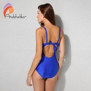 Image 3 - Andzhelika 2018 New Women One Piece Swimsuit Solid Sexy Fold Swimwear Swim Suits Bodysuit Summer Beach Bathing Suit AK1905